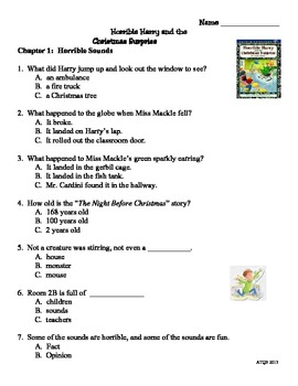 Horrible Harry and the Christmas Surprise Skill and Comprehension Packet