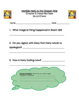Horrible Harry and the Dragon War Guided Reading Packet