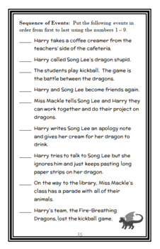 Horrible Harry and the Dragon War (Suzy Kline) Novel Study / Comprehension