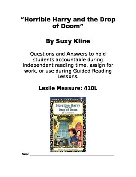 Horrible Harry and the Drop of Doom Chapter Book Questions and Answers