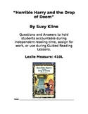 Horrible Harry and the Drop of Doom Chapter Book Questions