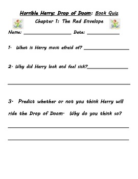 Horrible Harry and the Drop of Doom Guided Reading packet