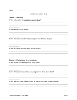 Horrible Harry and the Goog by Suzy Kline Comprehension Questions