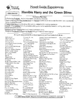 Horrible Harry and the Green Slime Literature Guide