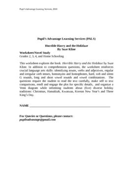 Horrible Harry and the Holidaze Novel Study and Worksheet