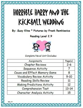 Horrible Harry and the Kickball Wedding Novel Unit- Valentines Day
