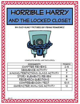 Horrible Harry and the Locked Closet Novel Unit
