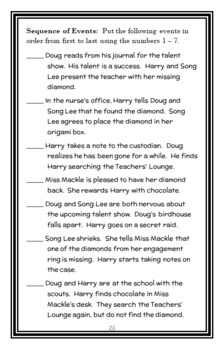 Horrible Harry and the Missing Diamond (Suzy Kline) Novel Study (29 pages)