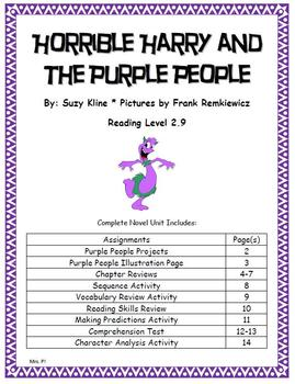 Horrible Harry and the Purple People Novel Unit