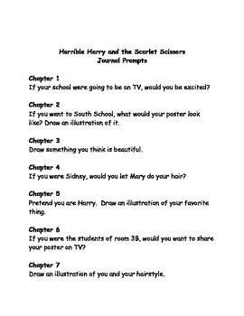 Horrible Harry and the Scarlet Scissors comprehension questions