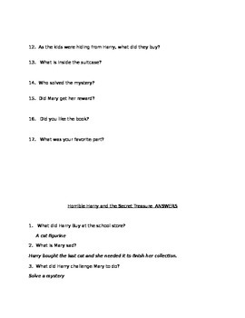 Horrible Harry and the Secret Treasure Chapter Book Questions and Answers