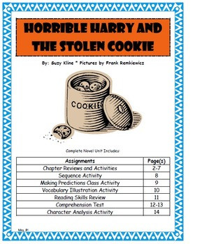 Horrible Harry and the Stolen Cookie complete Novel Unit