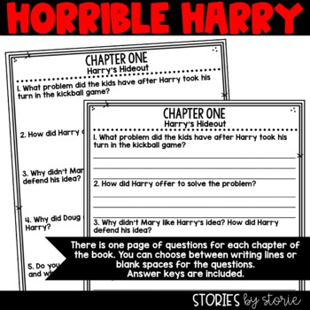 Horrible Harry and the Top-Secret Hideout - Comprehension Questions