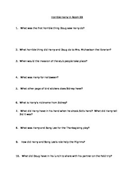 Horrible Harry in Room 2B Chapter Book Questions and Answers