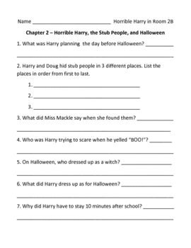 Horrible Harry in Room 2B Comprehension Questions, Activities and Test