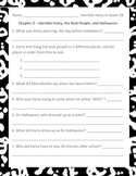 Horrible Harry in Room 2B Comprehension Questions, Activit