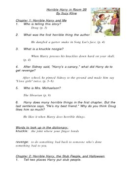 Horrible Harry in Room 2B Study Guide