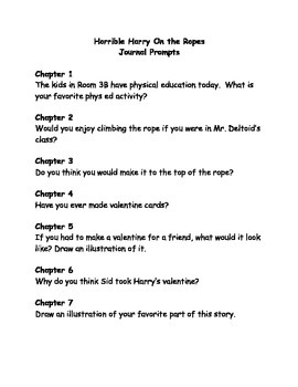 Horrible Harry on the Ropes comprehension questions