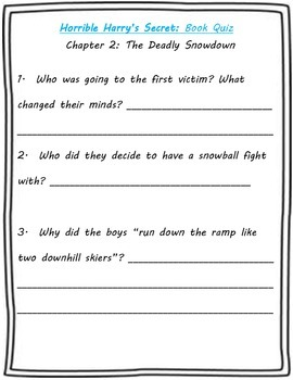 Horrible Harry's Secret Guided Reading Packet