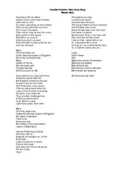 Horrible Histories: Lyrics to Mary Tudor Song