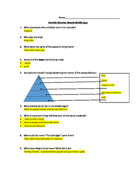 Horrible Histories Measly Middle Ages - Viewing Guide & Answer Key