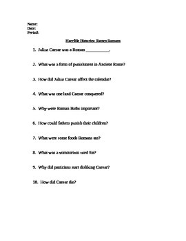 Horrible Histories Worksheets | Teachers Pay Teachers