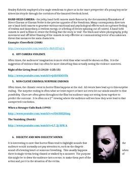 Horror Genre Study Guide- Film Terminology & Techniques