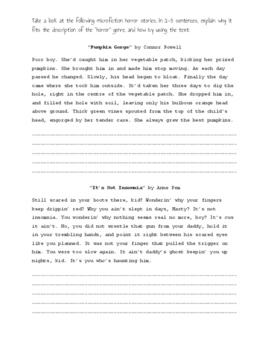 Horror Genre Worksheet