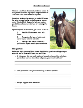 Horse Careers Booklet