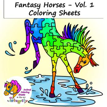 Horse Coloring Pages - Vol. 1 - Fantasy Genre - 8 Fun Coloring Sheets!
