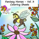 Horse Coloring Pages - Vol. 3 - Fantasy Genre - 8 Fun Coloring Sheets!