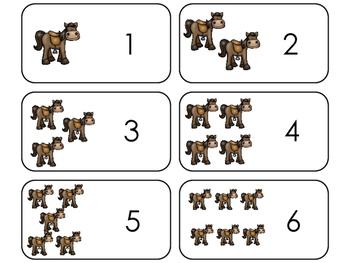 Horse Counting Printable Flashcards. Preschool- Kindergarten Math.