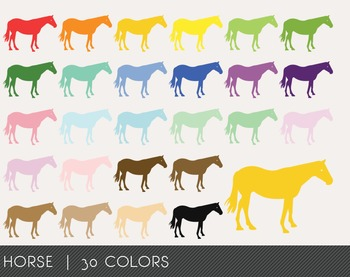 Horse Digital Clipart, Horse Graphics, Horse PNG, Rainbow