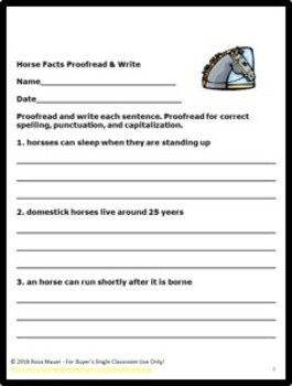Horse Facts Proofread and Write Writing Activity