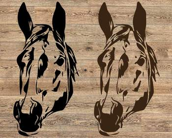 Horse Head Silhouette SVG cowboy western Farm 1210S