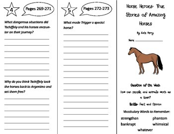 Horse Heroes Trifold - Reading Street 4th Grade Unit 2 Week 4