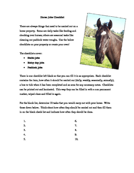 Horse Jobs Checklist Activity