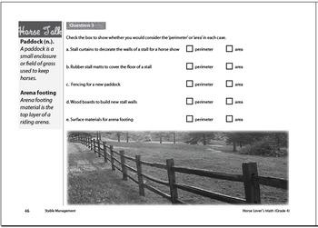 Horse Lover's Math Level 1 Workbook - Metric version