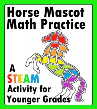 Horse Mustang Math Addition Practice Worksheet Mascot Math