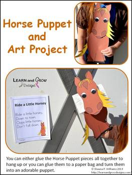 Horse Puppet Art Project with Nursery Rhyme Poster - Chinese New Year 2014