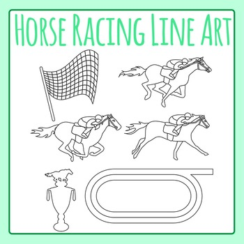 Horse Racing Derby Black and White Line Art / Clip Art for Commercial Use