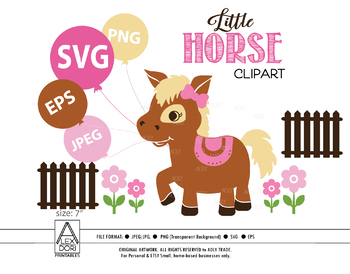 Horse SVG, baby horse with bow and flowers, boy horse, farm svg, pony svg