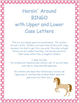 Horse Themed Spring Time BINGO with Upper & Lower Cases Letters