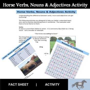 Horse Verbs, Nouns and Adjectives Activites