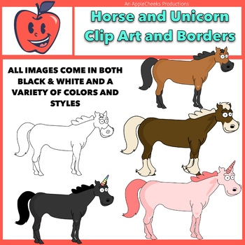 Horse and Unicorn Clip Art Mini Set  Commercial Use Digital Art