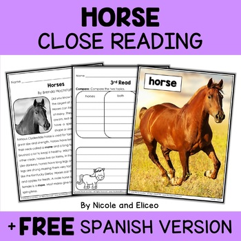 Close Reading Passage - Horse Activities