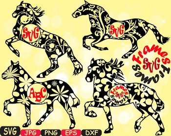 Horses Frame Woodland Silhouette school Clipart zoo circus flower wood wild 411s