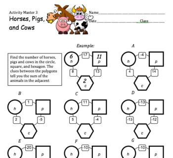 Horses, Pigs, and Cows: Developing Proportional Reasoning and Algebraic Skill