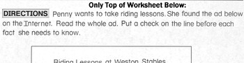 Horses: Reading Horse Riding Ad - Finding Important / Unimportant Information