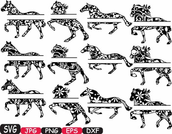Horses Split Woodland Silhouette school Clipart zoo circus flower wood wild 412s